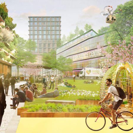 Op de afbeelding is het volgende afgebeeld: Een gebouw waar planten uitsteken. Ook staat er een experience centre. De mensen op de afbeelding zijn vooral jong en fietsen of liggen in het gras. Het gebied ziet er uit als een campus.