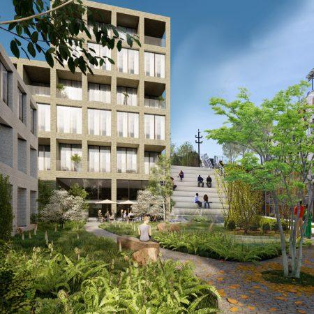 Op de afbeelding is het volgende afgebeeld: Verschillende appartementengebouwen van enkele bouwlagen hoog. Op grondniveau is in de verte een terras te zien. De omgeving is groen en mensen praten met elkaar.