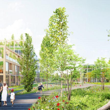 Op de afbeelding is het volgende afgebeeld: een vriendelijke woonomgeving met veel groen en wandelende gezinnen. Het gebied is autoluw. De gebouwen zijn een aantal verdiepingen hoog.