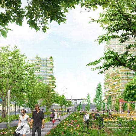 Op de afbeelding is het volgende afgebeeld: wandelende mensen. Een moestuin. Het is een stadse omgeving met hoogbouw, maar ook met veel bomen en struiken. Het gebied is autoluw.