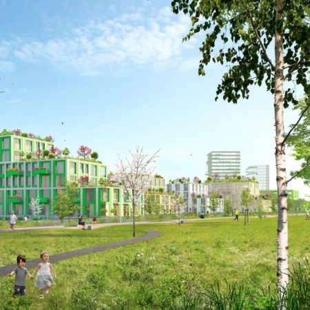 Op de afbeelding is het volgende afgebeeld: Een groen woongebied, waar mensen hun hond uitlaten, hardlopen en wandelen. Het is een groen gebied bestaande uit bomen en een groot grasveld. Verder staan er een aantal gebouwen afgebeeld. Voornamelijk appartementengebouwen van enkele bouwlagen hoog. Het gebied is autoluw.