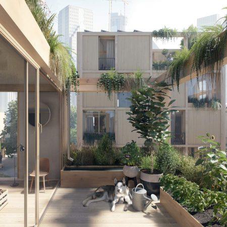 Op de afbeelding is het volgende afgebeeld: Een moestuin in een gebouw. Op de grond ligt een hond. Aan de daken hangen planten.