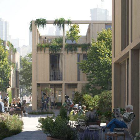Op de afbeelding is het volgende afgebeeld: Een levendige plek, waar mensen praten, wandelen en relaxen. De openbare ruimte en de gebouwen zijn groen. In de verte staat een hoge toren.