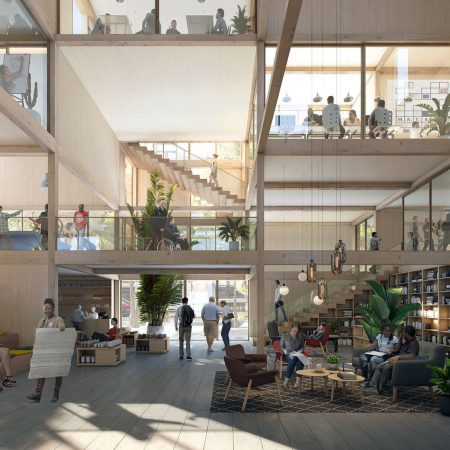 Op de afbeelding is het volgende afgebeeld: Een atrium waar mensen zitten en een presentatie krijgen. Rechts staat een bibliotheek. Op de eerste verdieping zijn presentaties en vergaderingen bezig. Op de voorgrond staat een leeshoekje.