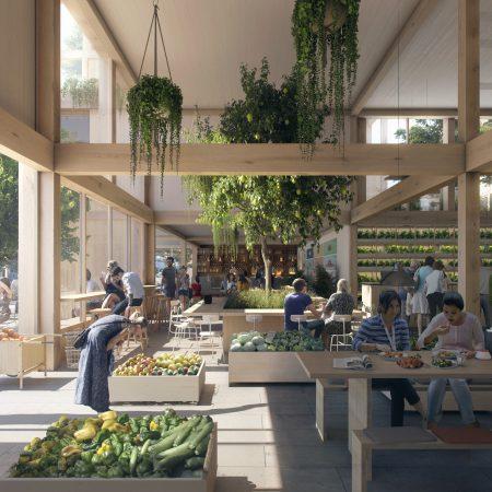 Op de afbeelding staat het volgende afgebeeld: Bakken vol met groenten en fruit. Daarnaast staat een lange tafel waar mensen gezamenlijk een hapje eten. Op de achtergrond staat innovatieve landbouwconcepten. Buiten is een terras.